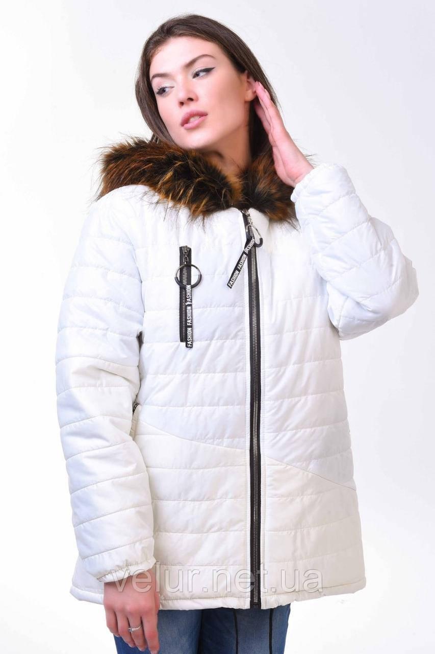 Женская теплая куртка белого цвета,размеры:48,50,52,54