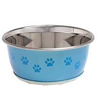 Миска из нержавейки с рисунком лапы для собак и кошек Karlie-Flamingo bowl selecta+paw, 950 мл 43057