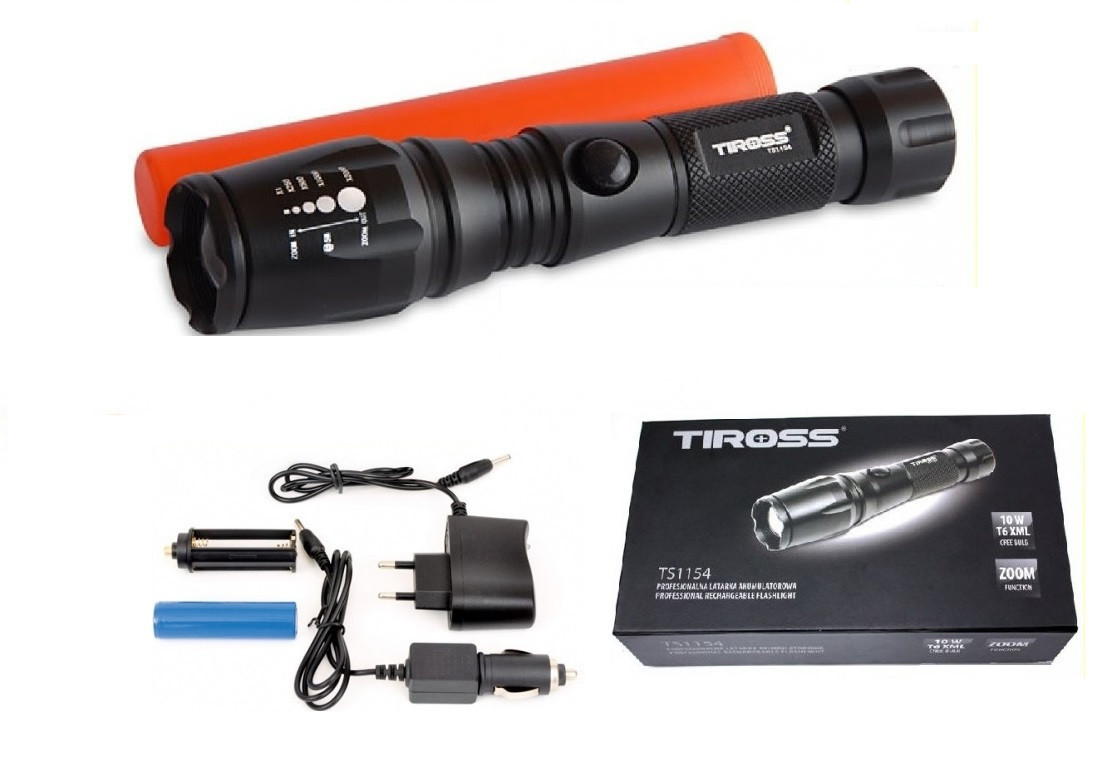 Фонарь ручной Tiross TS-1154 диод Zoom CREE XML T6XML 10w защита IPX4 (946928589)