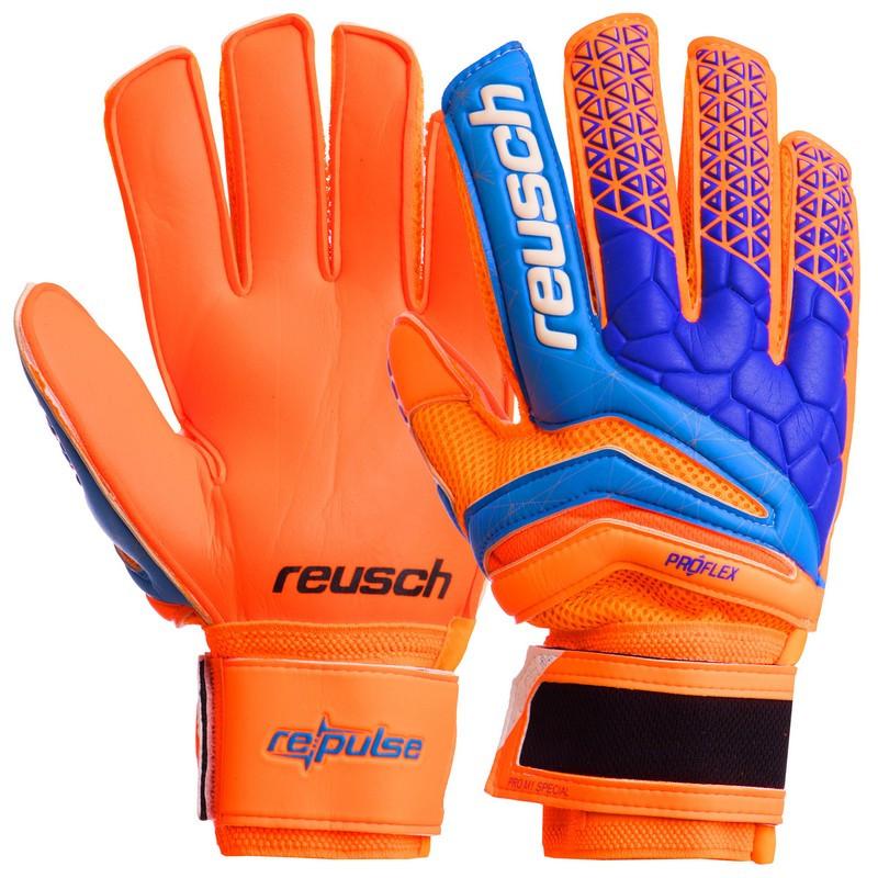 Футбольные перчатки с защитными вставками на пальцы REUSCH оранжево-синие FB-915, 10