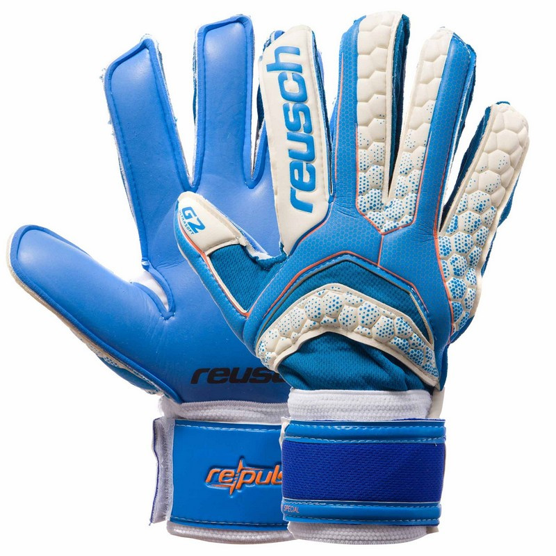 Футбольные перчатки с защитными вставками на пальцы голубо-белые REUSCH FB-873, 10