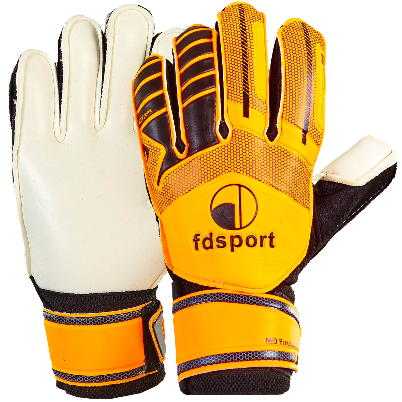 Перчатки футбольные подростковые с защитными вставками на пальцы FDSPORT оранжево-черные FB-579, 7