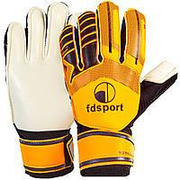 Перчатки футбольные подростковые с защитными вставками на пальцы FDSPORT оранжево-черные FB-579, 7, фото 1