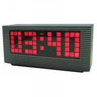 Электронное LED-табло, часы-будильник VST 2191, красная подсветка, секундомер, работают от сети 220В