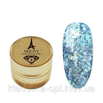 Жидкие блестки SEZAVI Diamond №5 (бирюзовый), 5 мл, фото 2