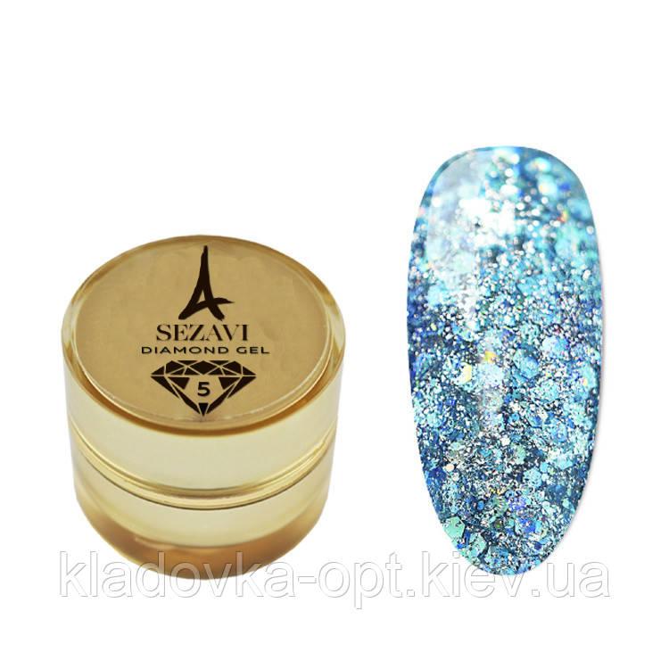 Жидкие блестки SEZAVI Diamond №5 (бирюзовый), 5 мл