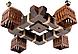 Люстра потолочная деревянная квадратная на 4 плафона в стиле Лофт 453314пот, фото 2