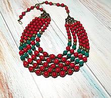 Намисто Панянка из Коралла и Лавы, натуральный камень, цвет красный и его оттенки, тм Satori \ Sk - 0103