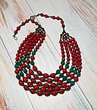 Намисто Панянка из Коралла и Лавы, натуральный камень, цвет красный и его оттенки, тм Satori \ Sk - 0103, фото 4