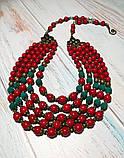 Намисто Панянка из Коралла и Лавы, натуральный камень, цвет красный и его оттенки, тм Satori \ Sk - 0103, фото 9