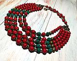 Намисто Панянка из Коралла и Лавы, натуральный камень, цвет красный и его оттенки, тм Satori \ Sk - 0103, фото 5
