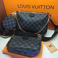 Сумка жіноча Louis Vuitton Луї Віттон 3 в 1 ремінець чорний