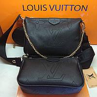 Модний жіночий Сумка Louis Vuitton Луї Віттон 3 в 1 ремінець чорний