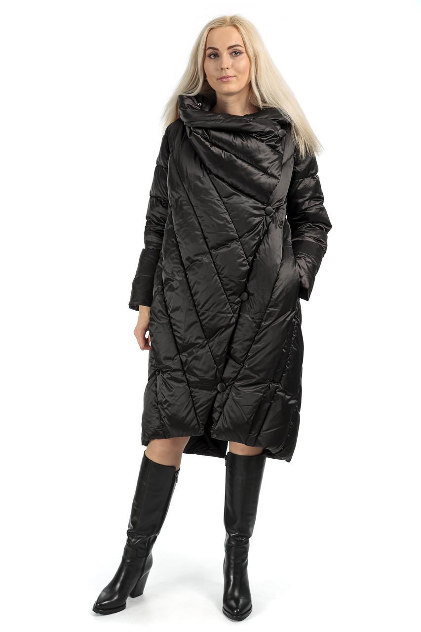 Пуховик жіночий зимовий чорний капюшон L