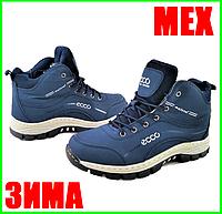 Ботинки ЕССО Зимние Синие Мужские на Меху Экко (размеры: 41,42,44,46) Видео Обзор