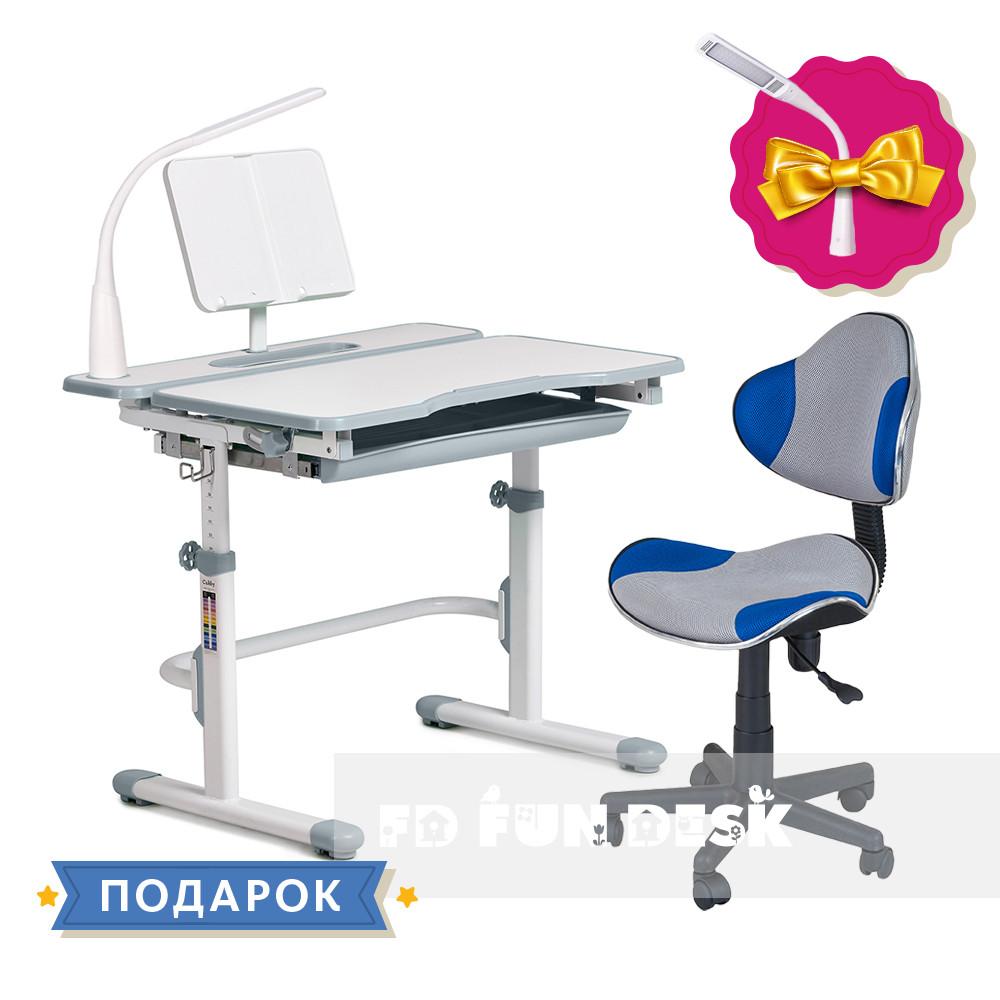 Комплект зростаюча парта Cubby Fressia Grey + дитяче ергономічне крісло FunDesk Pratico Blue