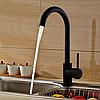 Высокий смеситель для кухни черный однорычажный AQUAMARIN WAVE 390 ONX для гранитной мойки, фото 8