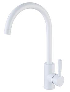 Высокий белый матовый смеситель для кухни с керамическим картриджем для гранитной мойки AQUAMARIN WAVE 390 WH