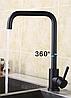 Однорычажный высокий смеситель для кухни черный гранит из нержавеющей стали AQUAMARIN Nautilus 370 ONX, фото 2