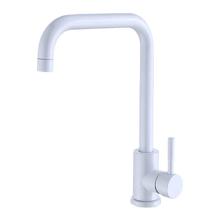Гранитный белый высокий смеситель для кухни под камень, однорычажный с картриджем AQUAMARIN Nautilus 370 WH