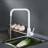 Гранитный белый высокий смеситель для кухни под камень, однорычажный с картриджем AQUAMARIN Nautilus 370 WH, фото 2
