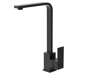 Квадратный высокий черный смеситель для кухни с картриджем для гранитной мойки AQUAMARIN BLADE 360 NERO