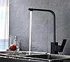 Квадратный высокий черный смеситель для кухни с картриджем для гранитной мойки AQUAMARIN BLADE 360 NERO, фото 3