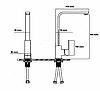 Квадратный высокий черный смеситель для кухни с картриджем для гранитной мойки AQUAMARIN BLADE 360 NERO, фото 6