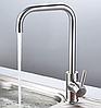 Г-образный смеситель для кухни с керамическим картриджем, из нержавеющей стали AQUAMARIN Nautilus 370 INOX, фото 2