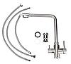 Г-образный смеситель для кухни из нержавеющей стали с фильтром и катриджем  AQUAMARIN ORION 350 INOX, фото 6