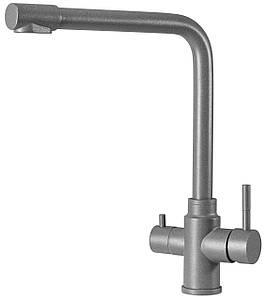 Высокий смеситель для кухни для фильтра с керамическим картриджем AQUAMARIN ORION 350 TITAN серый