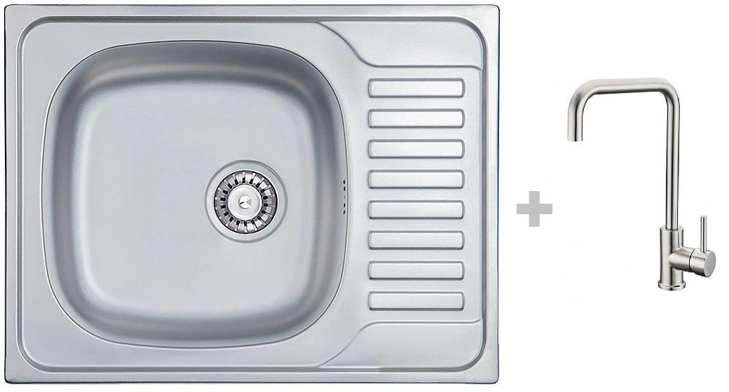 Кухонная мойка AQUAMARIN TRION 580-40 DurAlum (Сатин)+Смеситель