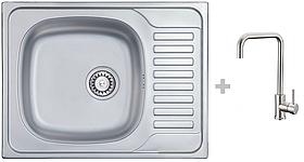 Кухонная мойка AQUAMARIN TRION 580-40 DurAlum (Декор)+Смеситель