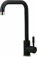 Высокий смеситель для кухни черный матовый для гранитной мойки AQUAMARIN Nautilus 370 NERO combi