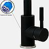 Высокий смеситель для кухни черный матовый для гранитной мойки AQUAMARIN Nautilus 370 NERO combi, фото 3