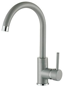 Гранитный серый смеситель кухонный однорычажный с высоким гусаком AQUAMARIN WAVE 390 combi TITAN