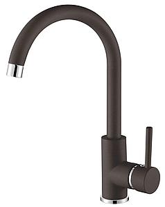 Кухонный смесителькоричневый для гранитной мойки с высоким изливом AQUAMARIN WAVE 390 combi ESPRESSO