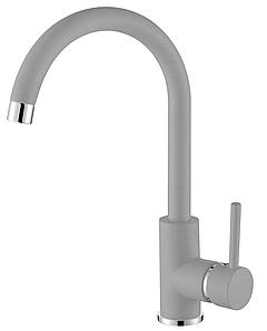 Серый матовый смеситель для кухни с высоким гусаком для гранитной мойки AQUAMARIN WAVE 390 combi AluMetallic