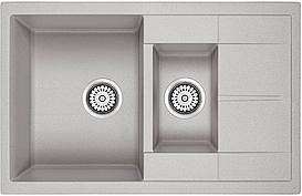 AQUAMARIN ISLA 780-50 GRAY (серый) + Сифон (двойной) Кухонная мойка Гранитная Прямоугольная