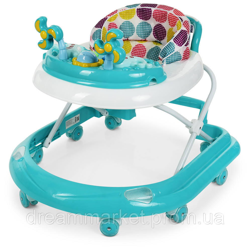Детские складные Ходунки El Camino Dolphin Mint: противоударный бампер, игровая панель, мятный 70х50х56см