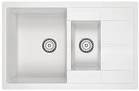 AQUAMARIN ISLA 780-50 WHITE (белый) + Сифон (двойной) Кухонная мойка Гранитная Прямоугольная