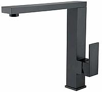 Квадратный Г-образный смеситель для кухни черный из нержавеющей стали AQUAMARIN OGMA 760 NERO