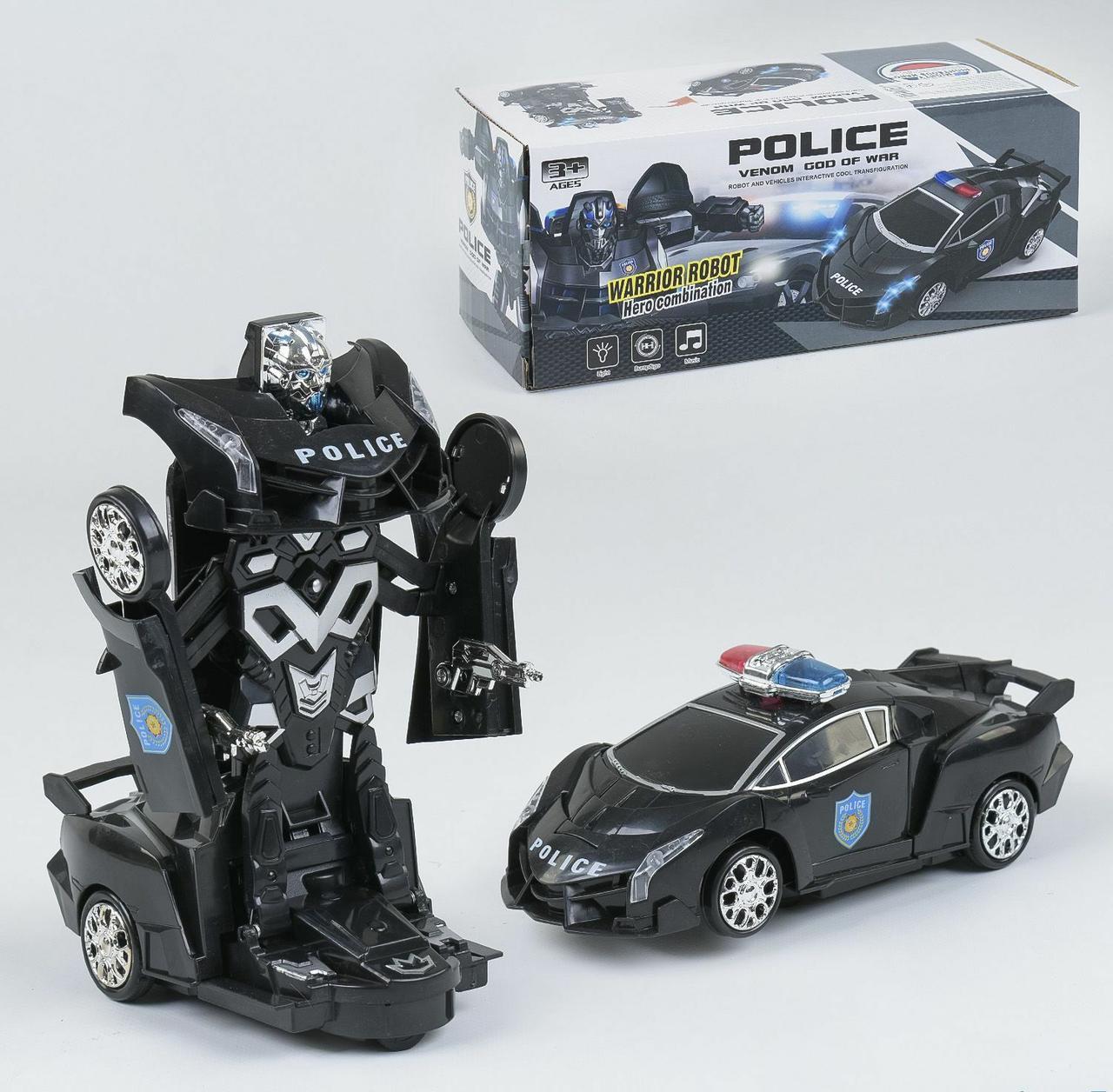 Детский робот трансформер 8997, превращается в полицейскую машину, со звуковыми и световыми эффектами