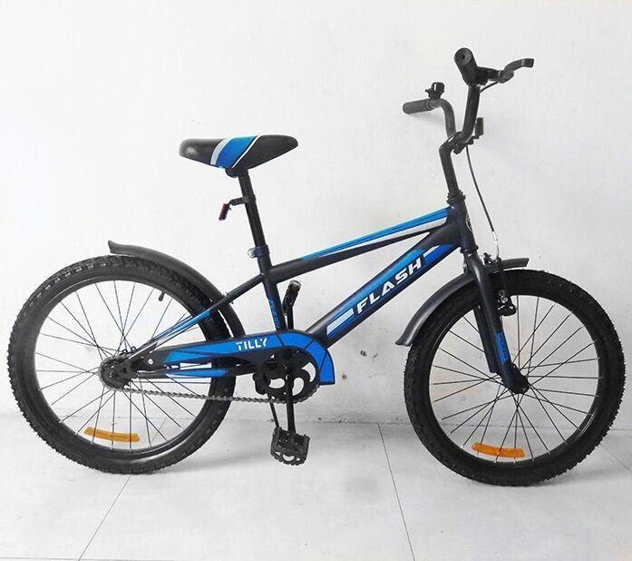 """Дитячий двоколісний велосипед 20"""" з металевою рамою і переднім ручним гальмом TILLY FLASH T-22044"""