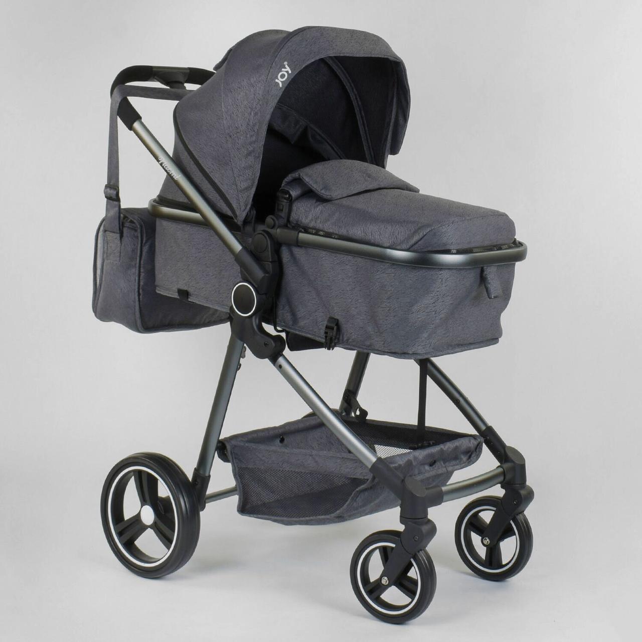 Детская коляска универсальная 2 в 1 JOY Naomi 96471 Серый, сумка, футкавер