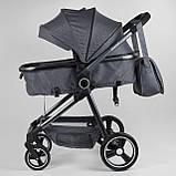 Детская коляска универсальная 2 в 1 JOY Naomi 96471 Серый, сумка, футкавер, фото 3
