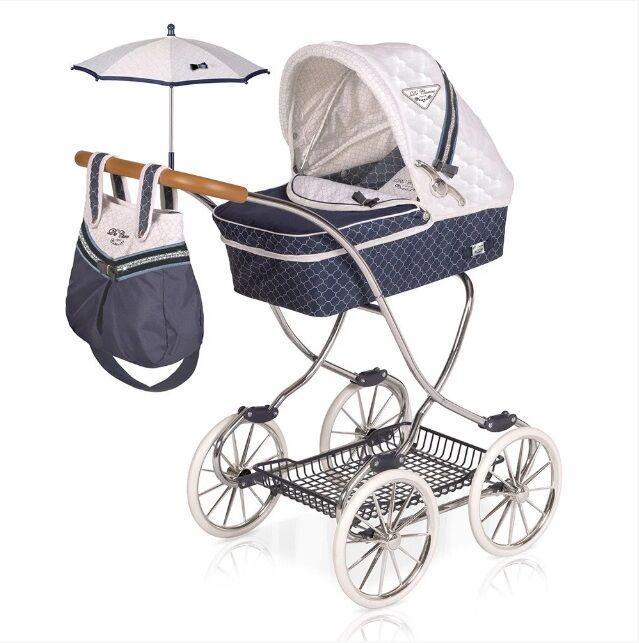 Детская игрушечная классическая коляска для кукол и пупсов с зонтиком, сумкой и корзиной для игрушек 80237