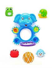 """Іграшка для купання 9912 баскетбол """"Слон"""" сітка, м'ячик, 4 сикавки"""