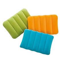 Надувна велюрова прямокутна подушка Intex 68676 NP (43х28х9 см), 4 кольори