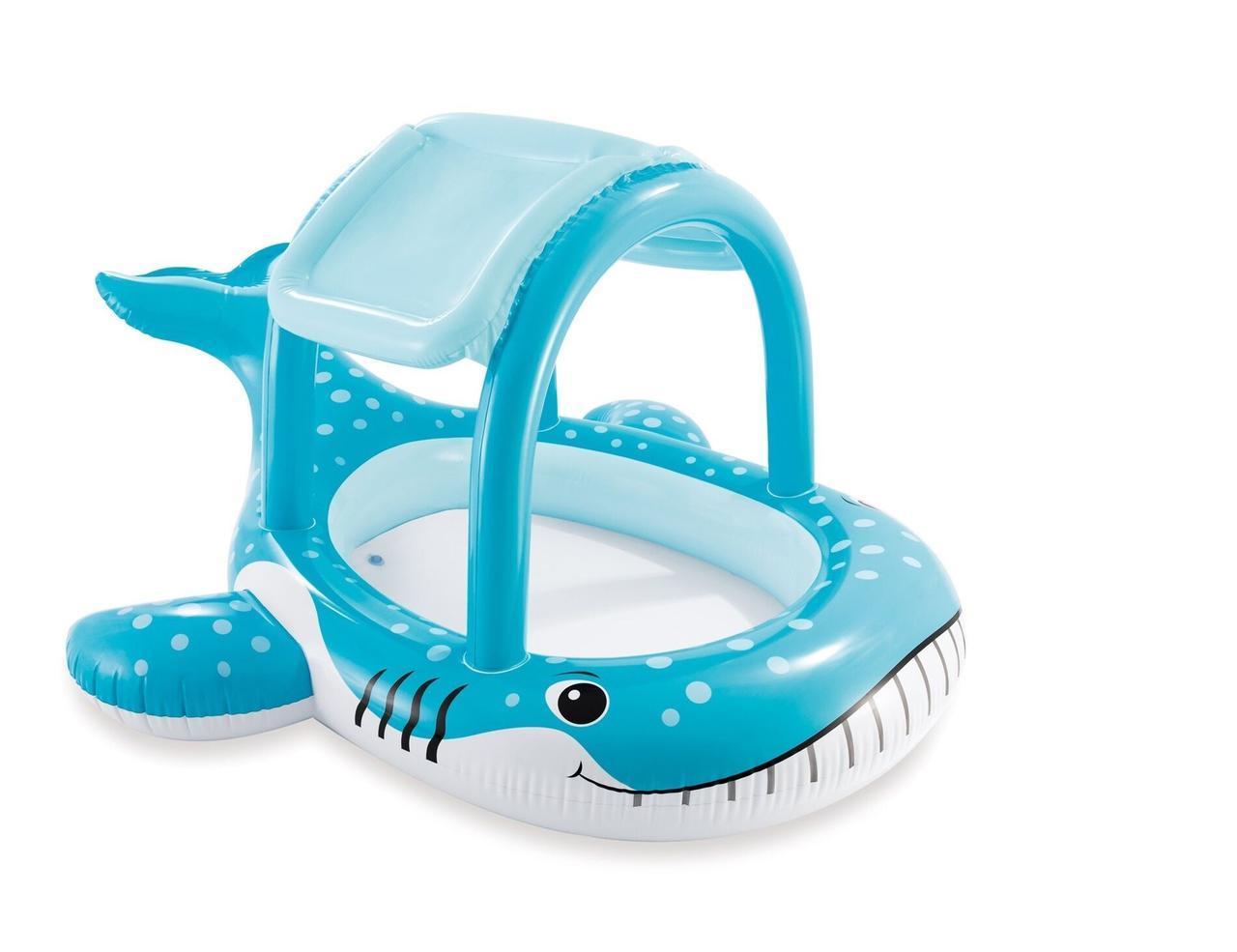 Детский надувной бассейн «Кит» Intex 57125 с навесом на 120 литров (211*185*109 см)